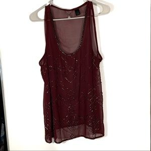 BKE deep red jewel blouse